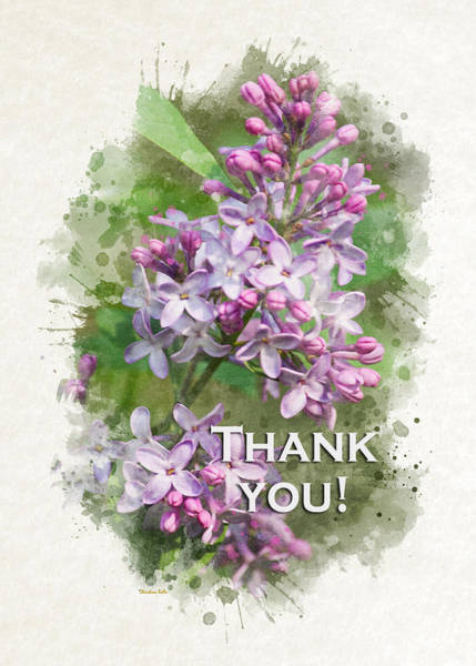 Mixed Media - Lilac Watercolor Thank You Card by Christina Rollo