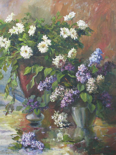 Painting - Lilacs And Asters by Tigran Ghulyan