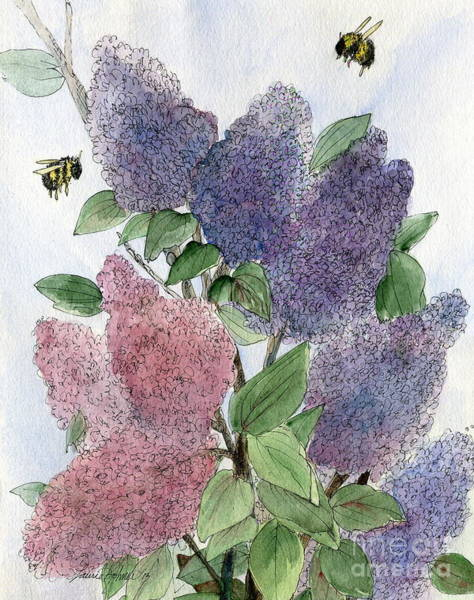 Painting -  Lilacs And Bees by Laurie Rohner