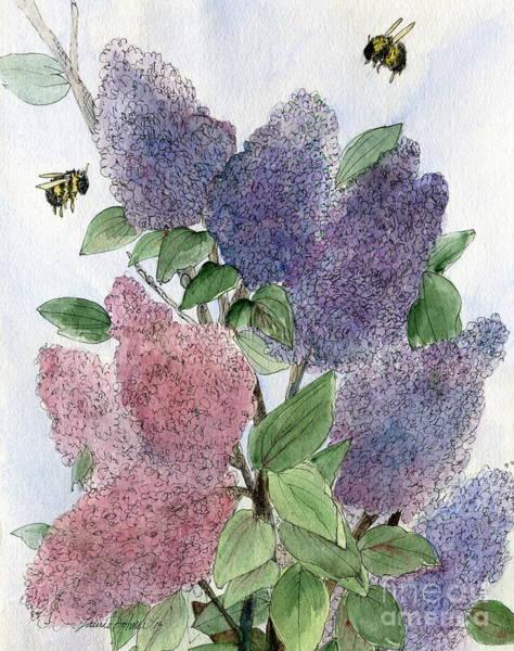 Lilacs And Bees Art Print