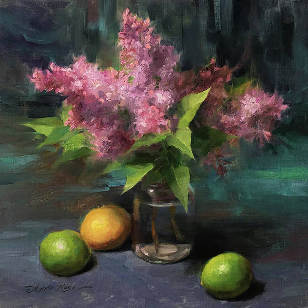 Still-life Painting - Lilacs And Limes by Anna Rose Bain