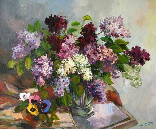 Lilacs And Pansies Art Print