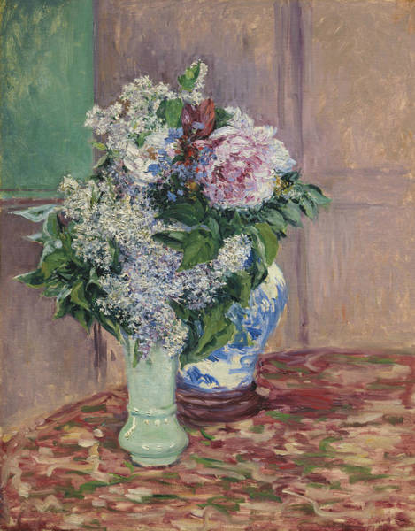 Painting - Lilacs And Peonies In Two Vases by Gustave Caillebotte