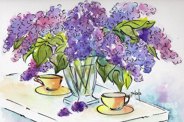 Painting - Lilacs And Tea by Pat Katz