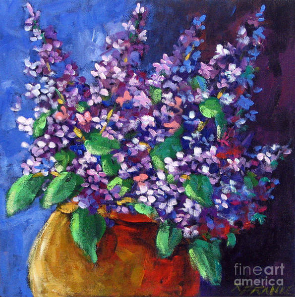 Floral Shower Curtain Painting - Lilacs Bouquet By Prankearts by Richard T Pranke