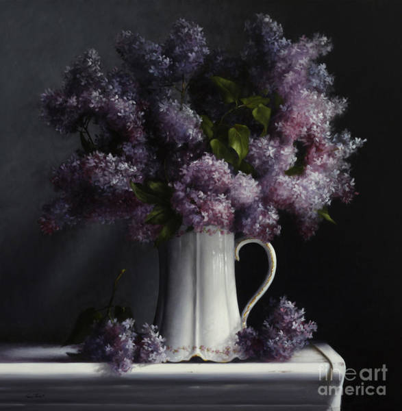 Pitcher Painting - Lilacs/haviland Water Pitcher by Lawrence Preston
