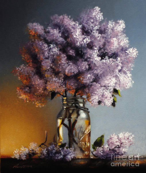 Wall Art - Painting - Lilacs In A Ball Jar by Lawrence Preston
