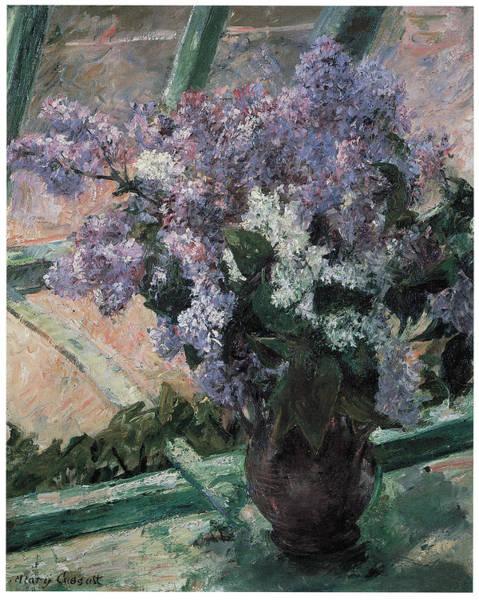 Cassatt Painting - Lilacs In A Window by Mary Cassatt