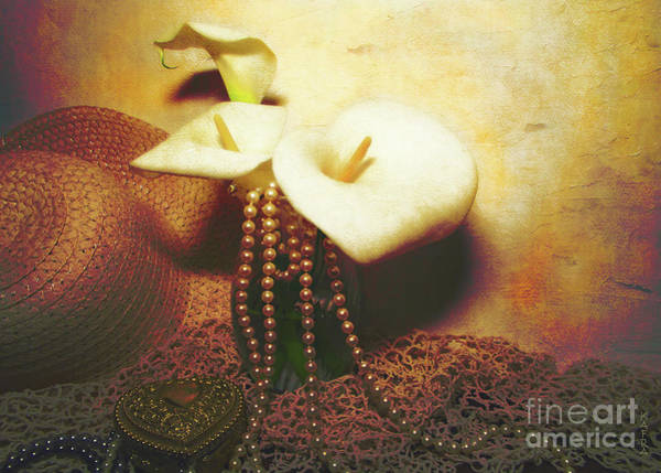 Calla Mixed Media - Lilies And Pearls by KaFra Art