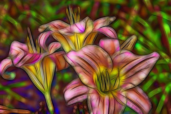 Fleur Digital Art - Lilies by Jean-Marc Lacombe
