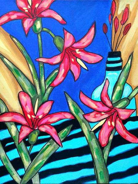 Painting - Lilies With A Vase by Nikki Dalton