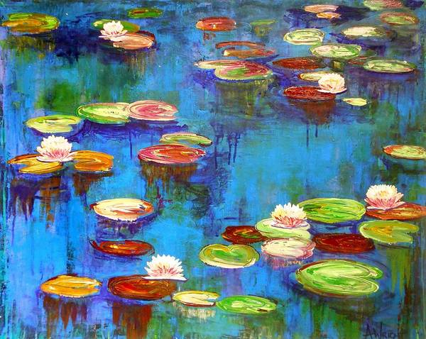 Lilly Pad Painting - Lillies by Angie Wright