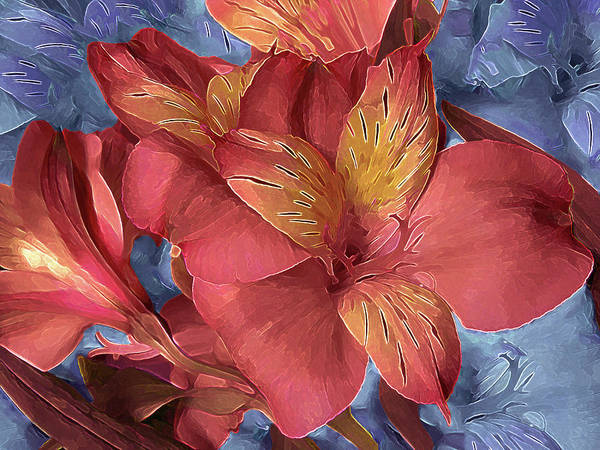 Mixed Media - Lily Bouquet In North Light Blue by Lynda Lehmann