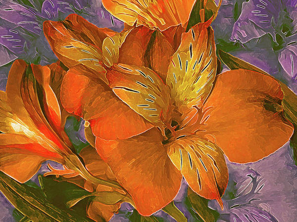 Mixed Media - Lily Bouquet In North Light Orange by Lynda Lehmann