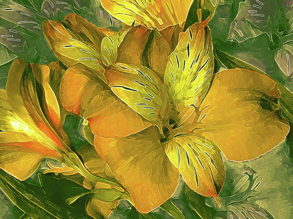 Mixed Media - Lily In North Light Yellow by Lynda Lehmann