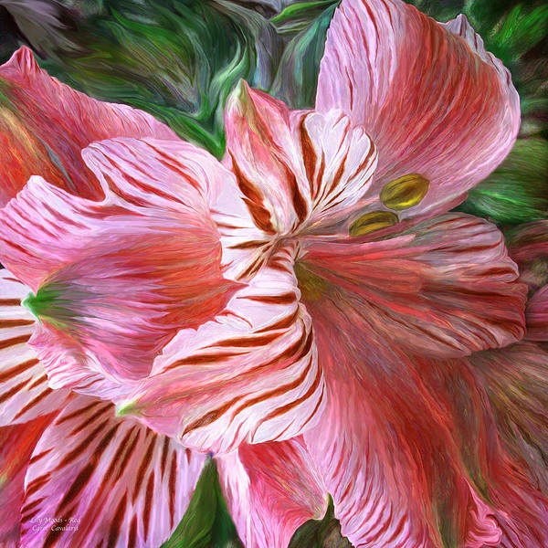 Mixed Media - Lily Moods - Red by Carol Cavalaris