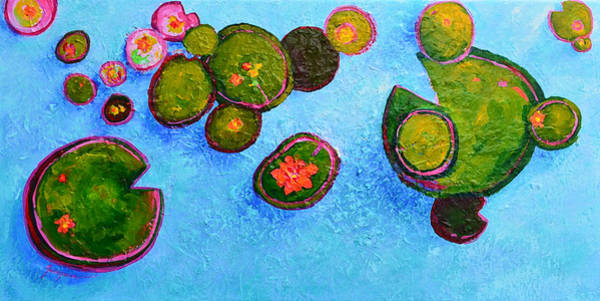 Painting - Lily Pads Waterlilies Pond Modern Impressionist Landscape Palette Knife Artwork by Patricia Awapara