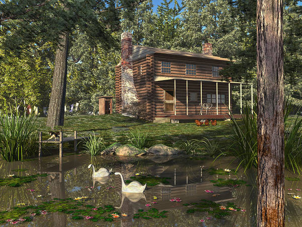 Digital Art - Lily Pond Cabin by Mary Almond