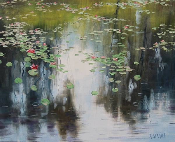 Reflections Painting - lily Pond  by Graham Gercken