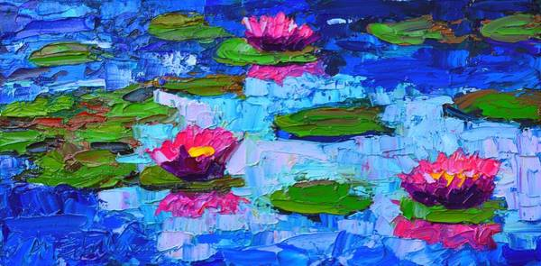 Wall Art - Painting - Lily Pond Impression - Pink Waterlilies  by Ana Maria Edulescu