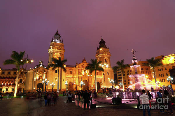 Photograph - Lima Cathedral And Plaza De Armas At Night by James Brunker