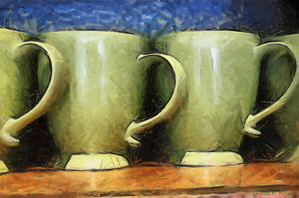 Digital Art - Lime Green Cups by Paulette B Wright