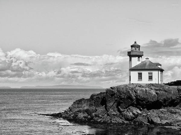 Wall Art - Photograph - Lime Kiln Lighthouse Black And White by Stephanie McDowell