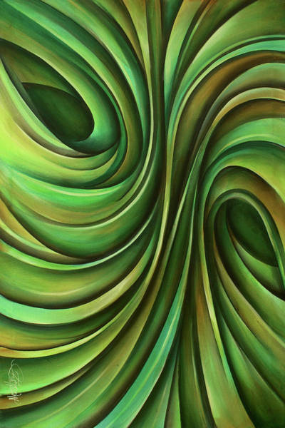 Yellow Ribbon Painting - 'lime' by Michael Lang