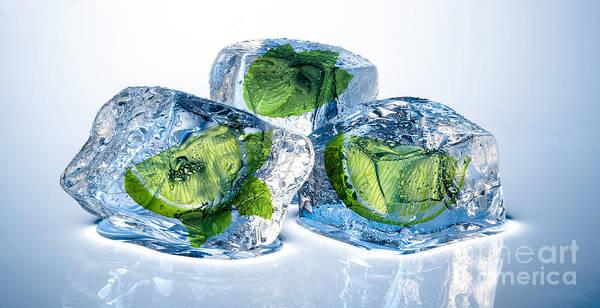 Ingredient Digital Art - Lime Mint Cubes by Christos Koudellaris