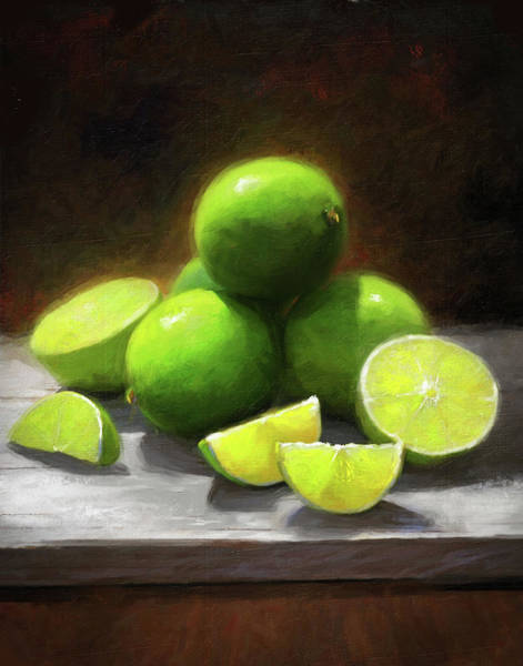 Still-life Painting - Limes In Sunlight by Robert Papp