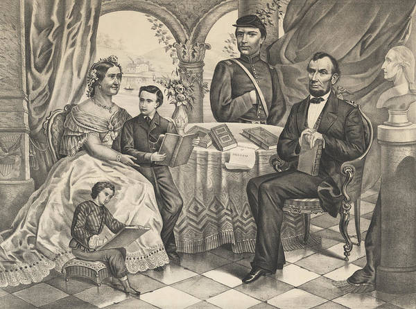 Abe Lincoln Drawing - Lincoln And His Family by American School
