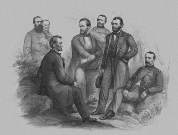 Civil War Wall Art - Drawing - Lincoln And His Generals by War Is Hell Store
