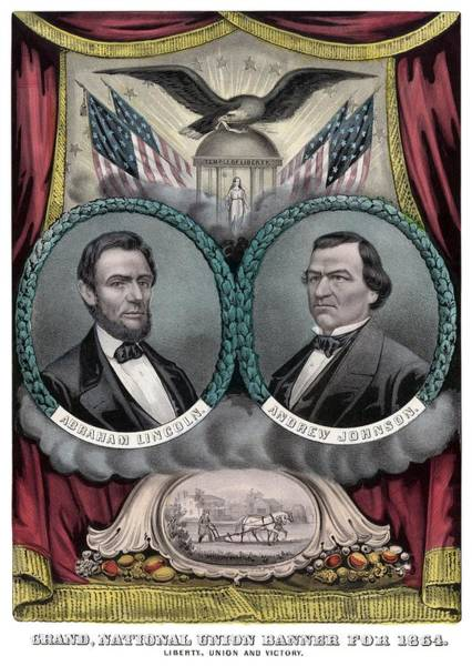 Rail Painting - Lincoln And Johnson Election Banner 1864 by War Is Hell Store