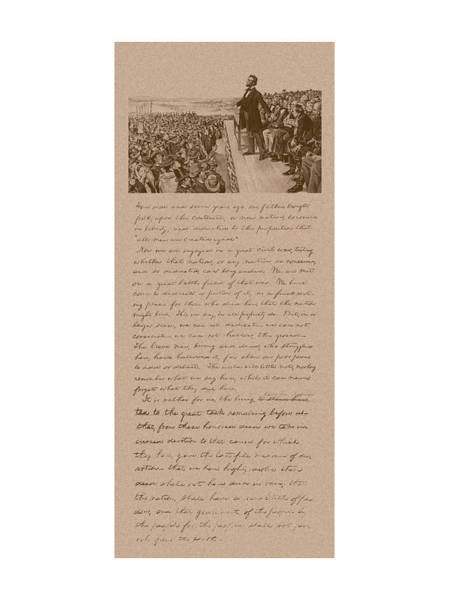 Wall Art - Mixed Media - Lincoln And The Gettysburg Address by War Is Hell Store