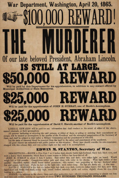 Justice Painting - Lincoln Assassination Reward Poster by American School