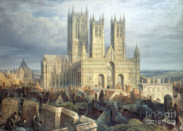 Townscape Wall Art - Painting - Lincoln Cathedral From The North West by Frederick Mackenzie