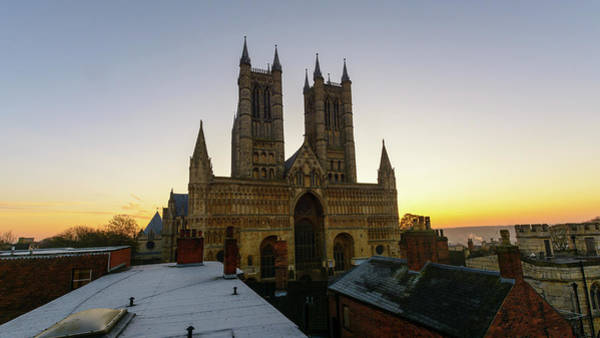 Photograph - Lincoln Cathedral West Facade At Sunrise by Jacek Wojnarowski