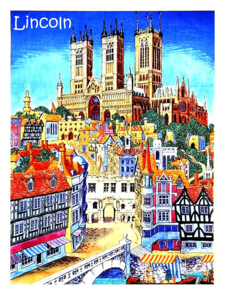 Wall Art - Painting - Lincoln City, England, Cathedral, Travel Poster by Long Shot