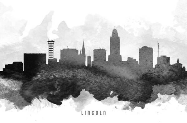 Nebraska Painting - Lincoln Cityscape 11 by Aged Pixel