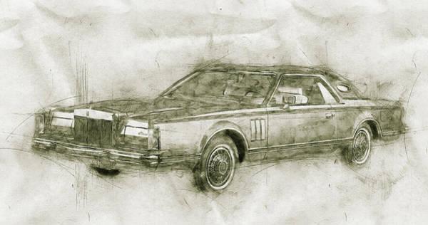 Four Wheeler Mixed Media - Lincoln Continental Mark V - 1977 - Automotive Art - Car Posters by Studio Grafiikka