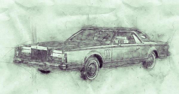 Four Wheeler Mixed Media - Lincoln Continental Mark V 3 - 1977 - Automotive Art - Car Posters by Studio Grafiikka