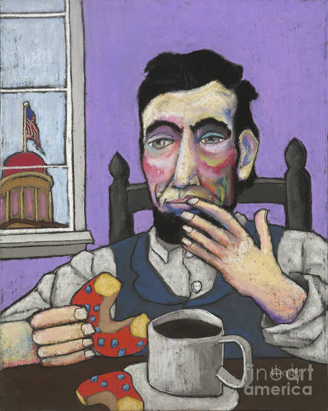 Wall Art - Pastel - Lincoln's First Donut by David Hinds