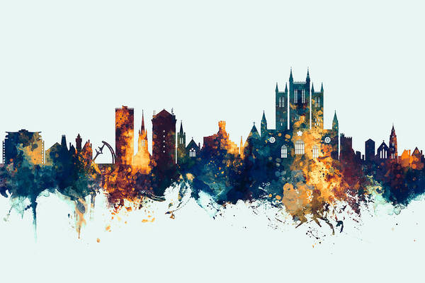 Lincoln Wall Art - Digital Art - Lincoln England Skyline by Michael Tompsett