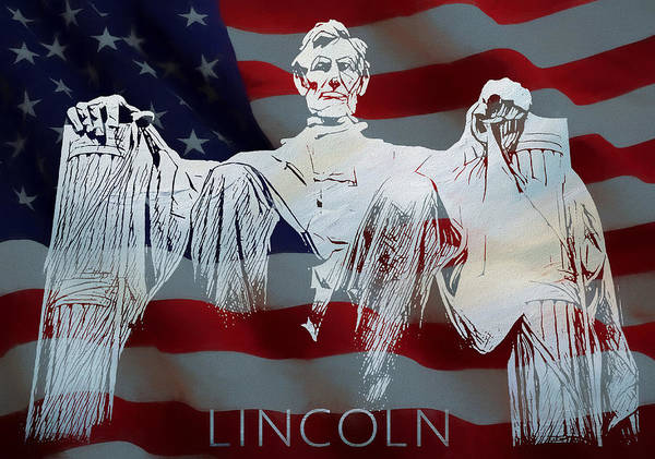 Mixed Media - Lincoln Memorial American Flag by Dan Sproul