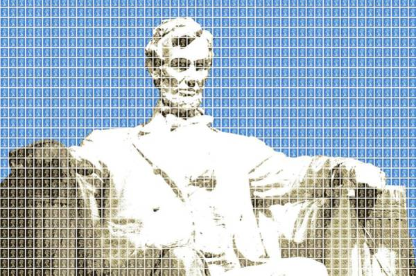 Us Civil War Digital Art - Lincoln Memorial - Blue by Gary Hogben