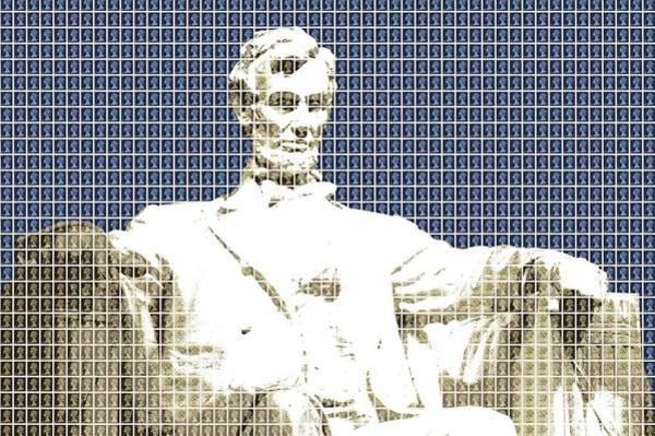 Us Civil War Digital Art - Lincoln Memorial - Dark Blue by Gary Hogben