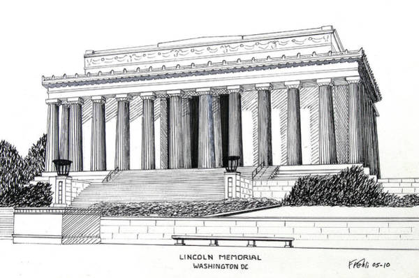 Ink Pen Drawing - Lincoln Memorial  by Frederic Kohli