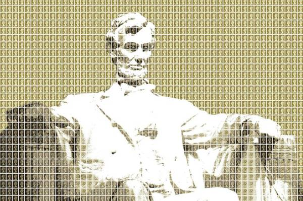 Us Civil War Digital Art - Lincoln Memorial - Gold by Gary Hogben
