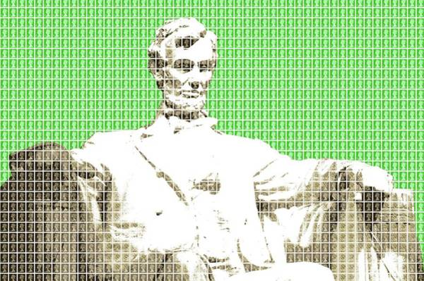 Us Civil War Digital Art - Lincoln Memorial - Green by Gary Hogben