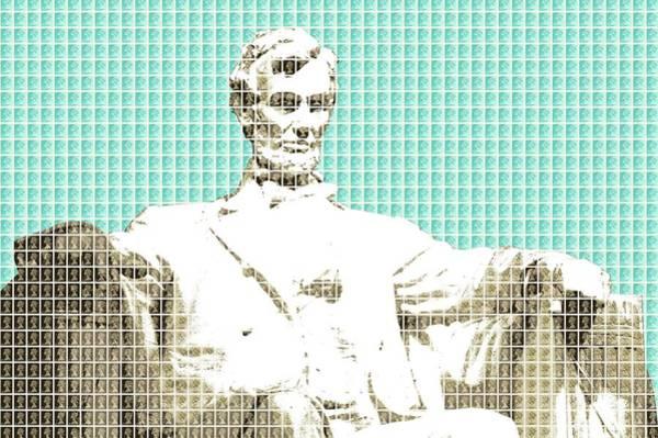 Us Civil War Digital Art - Lincoln Memorial - Light Blue by Gary Hogben